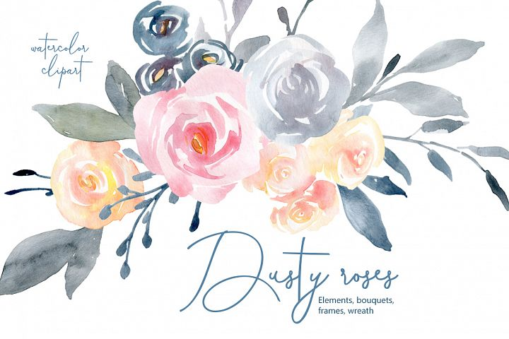 Watercolor Flowers Bouquets Frames Dusty Pink Blue Yellow