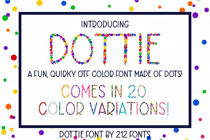 Dottie Color OTF SVG Font Family in 20 Color Variations