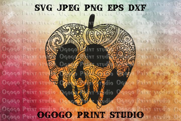Mandala style Poison Apple svg, Zentangle SVG, Halloween svg