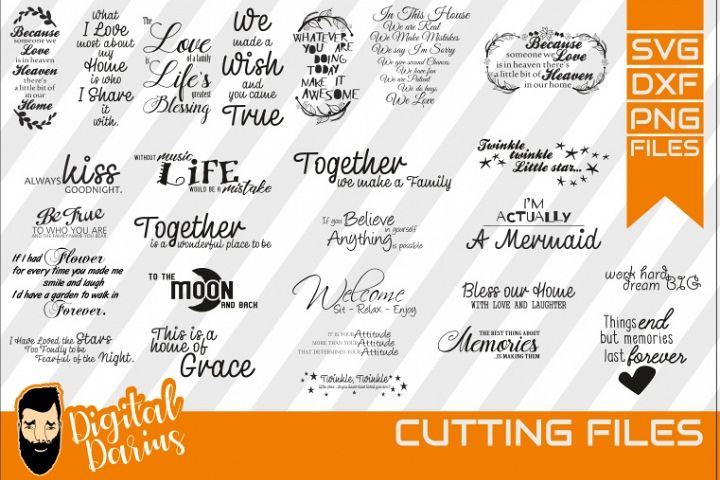26x Family quote Bundle svg, Carpe Diem svg, Together, Love
