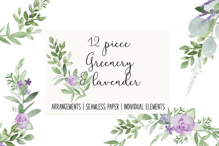Greenery and Lavender Wedding Watercolor Bundle