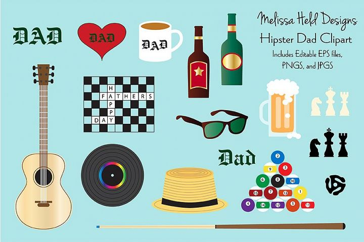 Hipster Dad Fathers Day Clipart