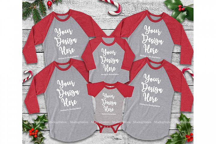 Matching Family Christmas Red Heather Grey Raglans Mockup