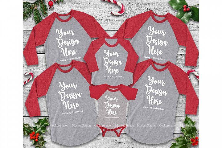 Matching Family Christmas Red Heather Grey Raglans Mockup