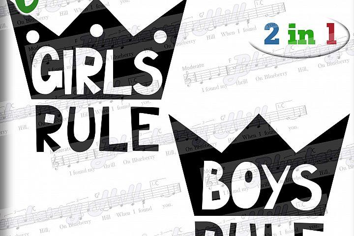 Girls rule Svg - Boys rule Svg -Digital Files - Svg digital