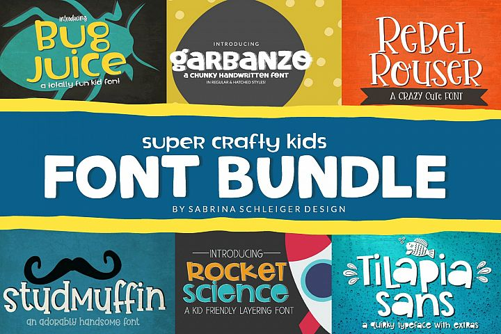 Font Bundle - Super Crafty Kids Cut Friendly Fonts