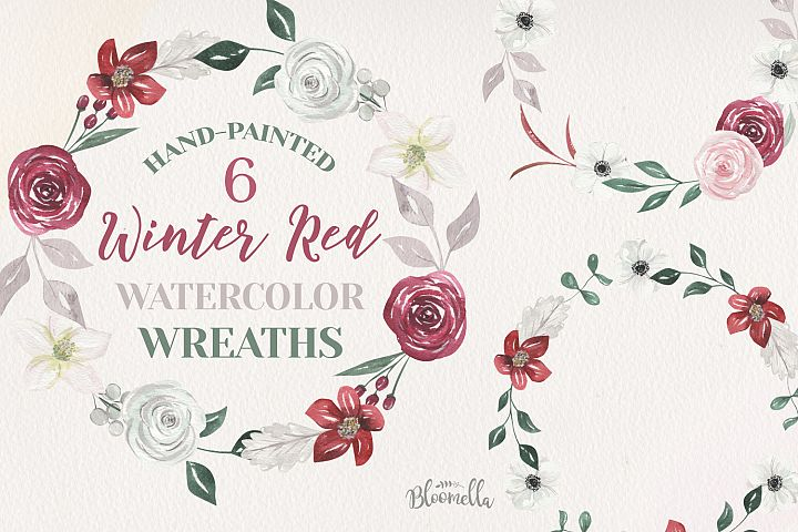 Winter Watercolor 6 Wreaths Anemone Christmas Red Flowers