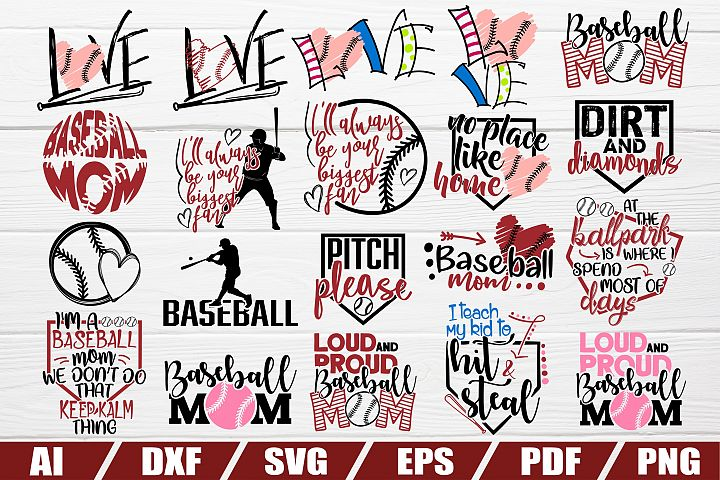 Baseball MOM bundle - 20 designs - cut file - dxf file - eps