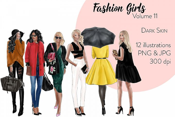 Fashion illustration clipart - fashion Girls Volume 11 - dark skin