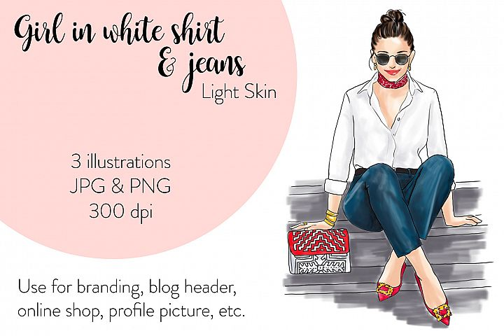 Fashion illustration - Girl in White Shirt & Jeans - Light