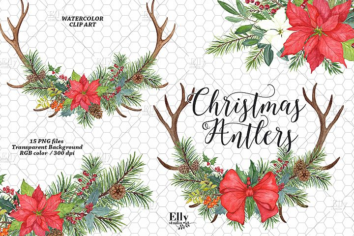 Christmas Antlers Watercolor Clipart