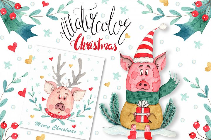 Watercolor Christmas Pig Collection