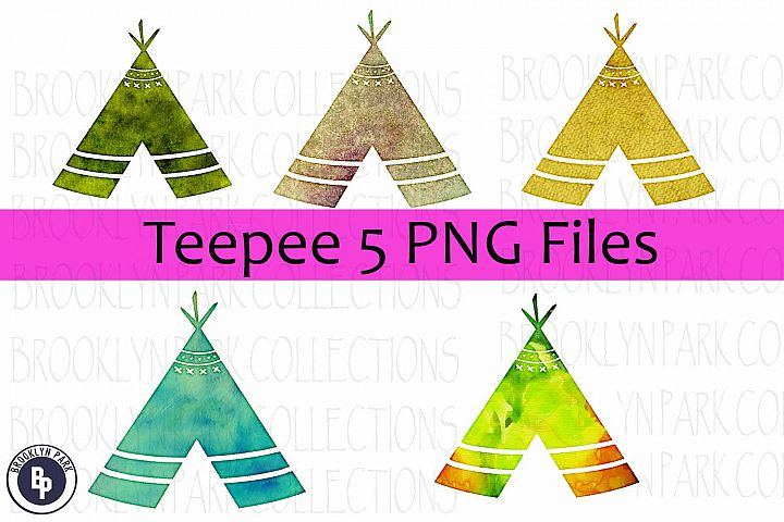 Watercolor Teepee Bundle, Clip Art, Sublimation 5 PNG, Print