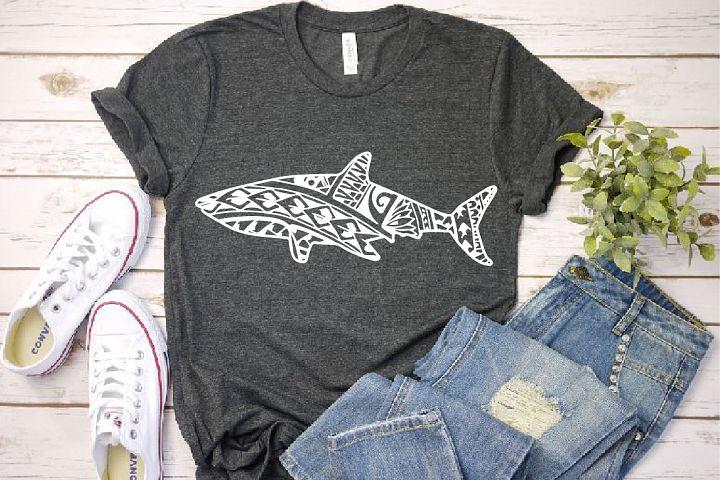 Shark ink tattoo Hawaiian Polynesian SVG tropical1284s