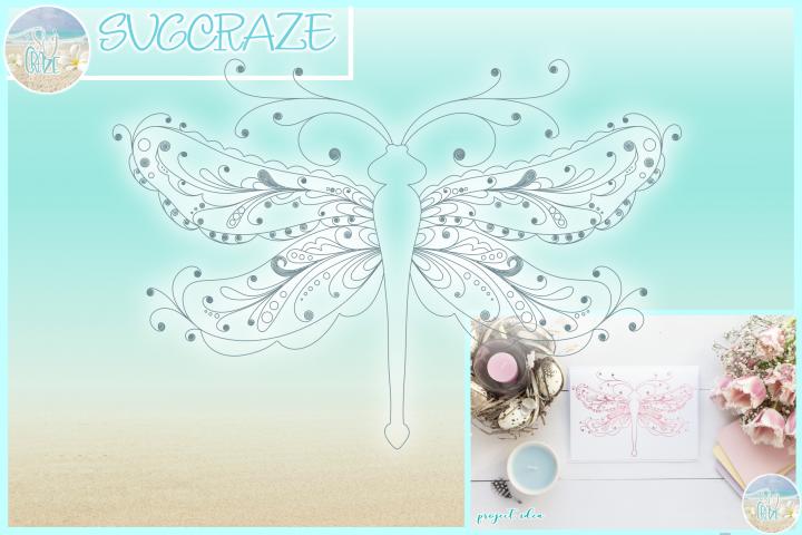 Dragonfly Mandala Zentangle Foil Quill Single Line SVG