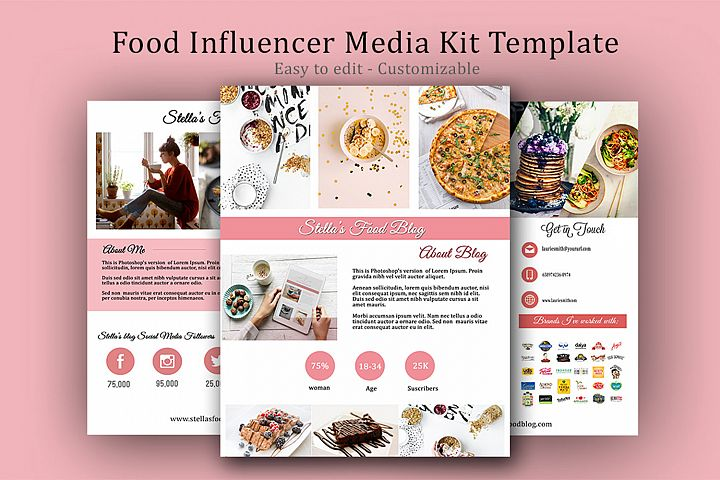 Influencer Food Media Kit Template - Sponsorships For Blogs