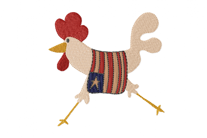Liberty Chicken ~ Machine Embroidery Design in 2 sizes - Instant Download ~ Americana Chook