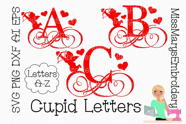Cupid Swirl Letters SVG Cutting File PNG DXF AI EPS