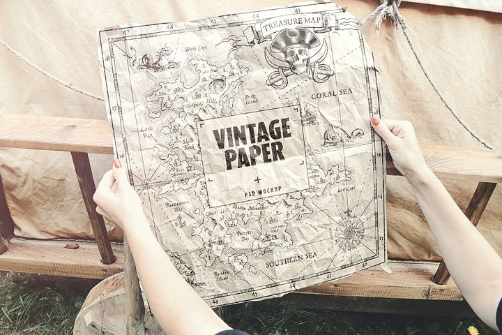Vintage Paper / Poster / Map Mockup