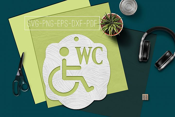 Disabled WC Sign Papercut Template, Toilet Decor, SVG, PDF