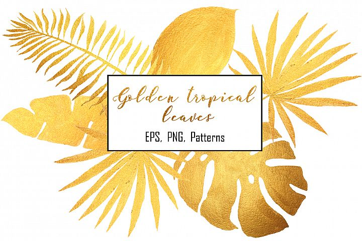 Golden tropical leaves & pattern