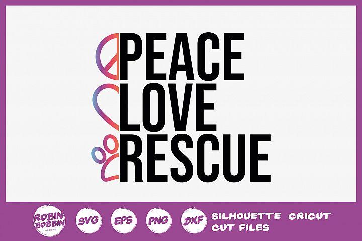 Peace Love Rescue Dog SVG - Dog Lover SVG