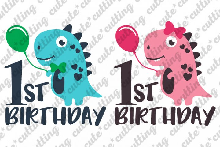 Dinosaur girl svg, Dinosaur boy svg, First Birthday svg