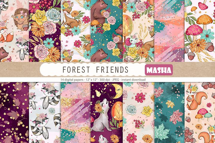 FOREST FRIENDS Digital Papers