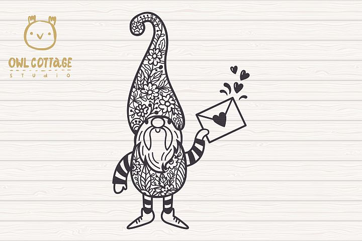 Valentine Gnomes svg , Valentine's Day Svg, Gnome with flor example 4
