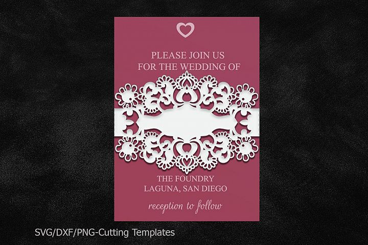 belly band wedding invitation template dxf svg cricut file