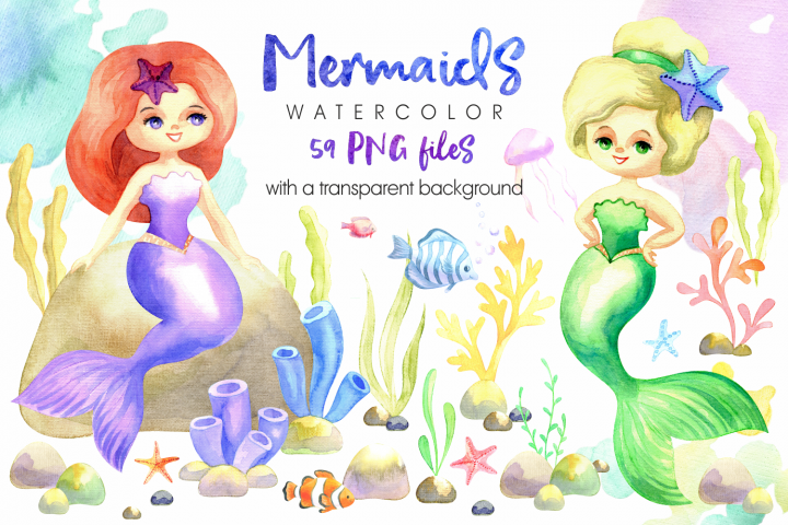 Mermaids. Watercolor cliparts set.