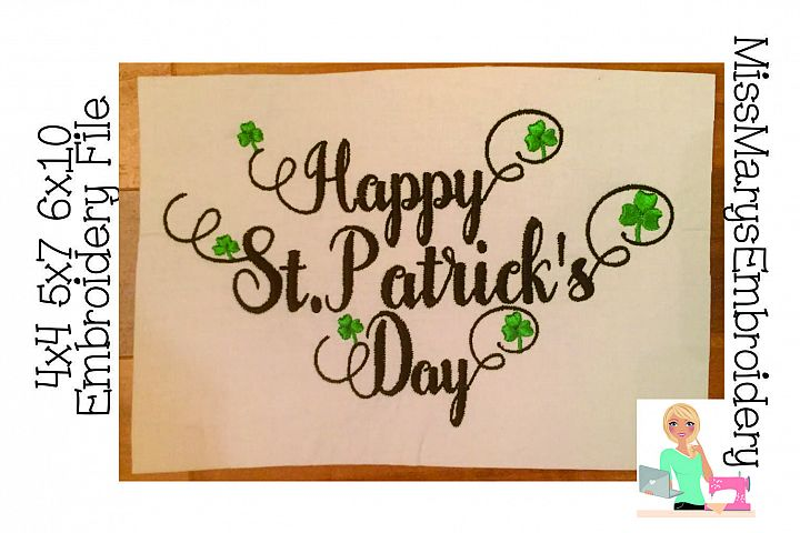 Happy St. Patricks Embroidery Design File