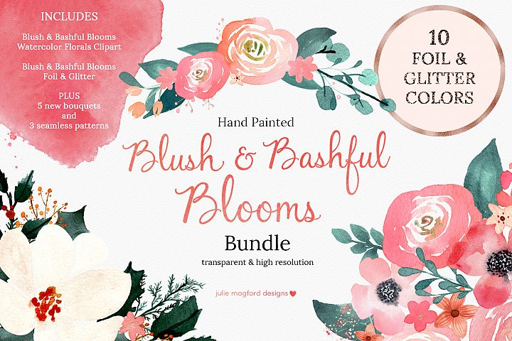 Blush & Bashful Blooms - Watercolor Bundle