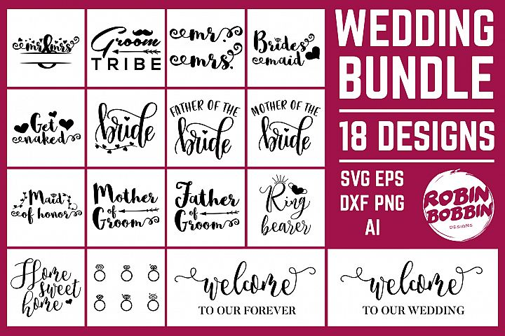 Wedding Bundle 18 Designs SVG Files - Wedding Set SVG EPS AI