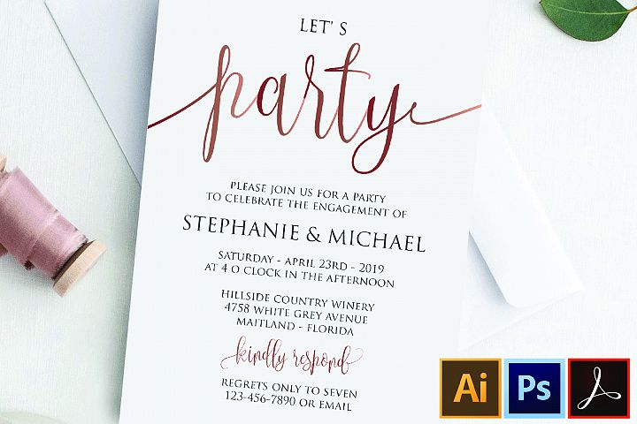Rose Gold Lets Party Modern Engagement Party Invitation