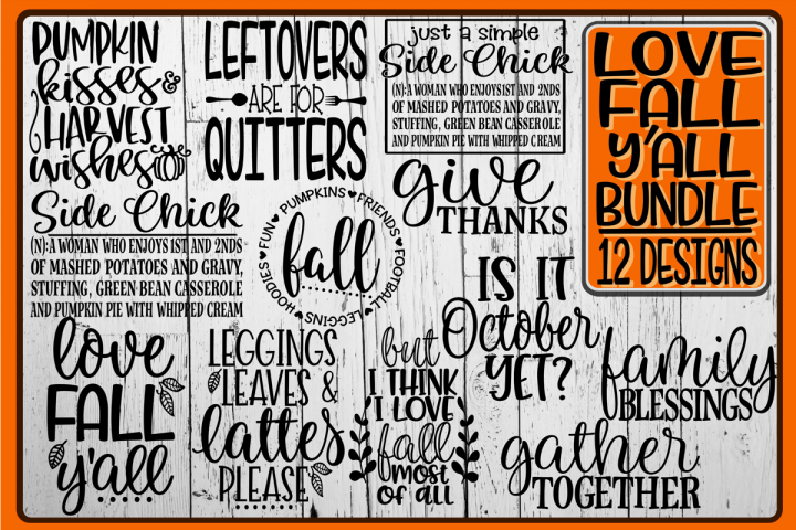 LOVE FALL YALL Bundle - 12 Designs Included
