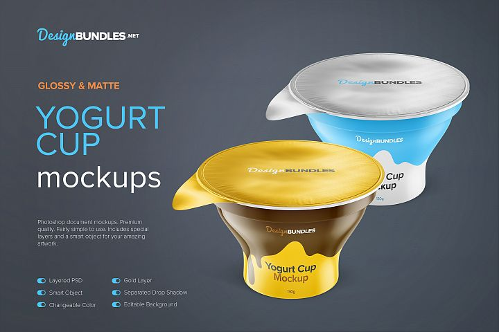 Plastic Yogurt Cup with Foil Lid Mockups, 130g