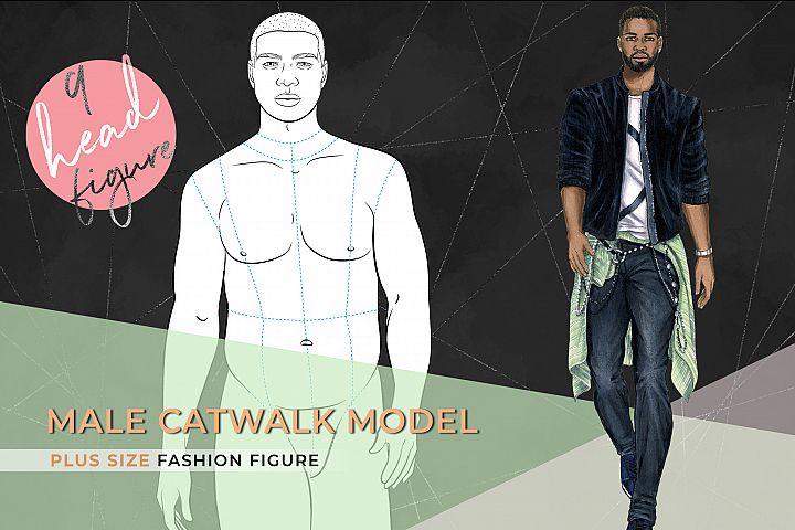 Male Plus size Figure- Fashion Croqui- 9 heads tall