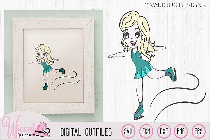 Ice skating Girl, Figure skate cut file, ice skates