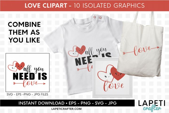 Valentines Day clip art, all you need is love svg, eps, png