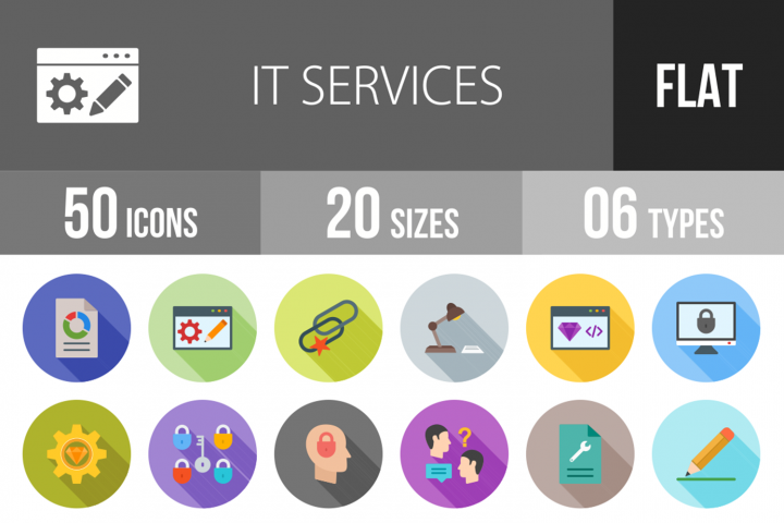 50 IT Services Flat Long Shadow Icons