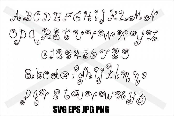 Swirling Font A to Z 0 to 9 - SVG EPS JPG PNG