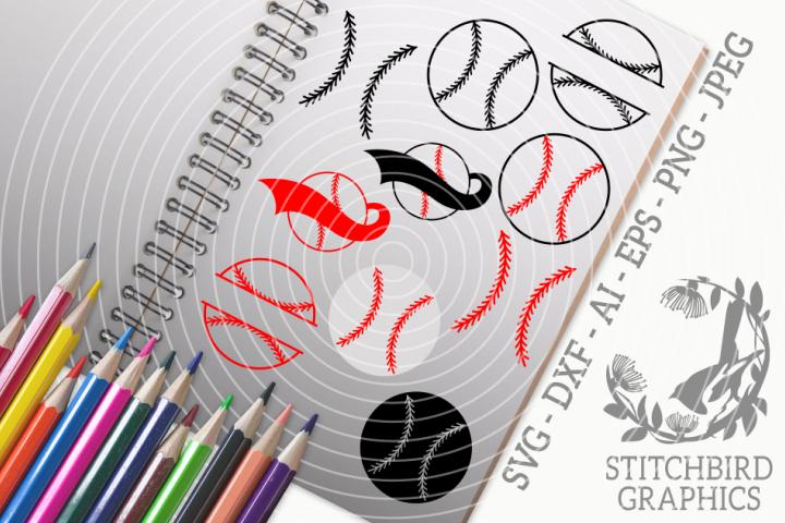Baseball Ball Bundle SVG, Silhouette Studio, Cricut, Eps, Ai