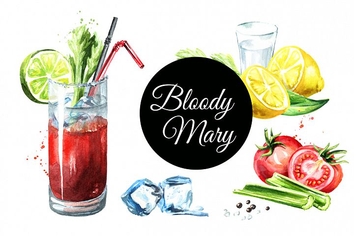 Bloody Mary. Watercolor collection
