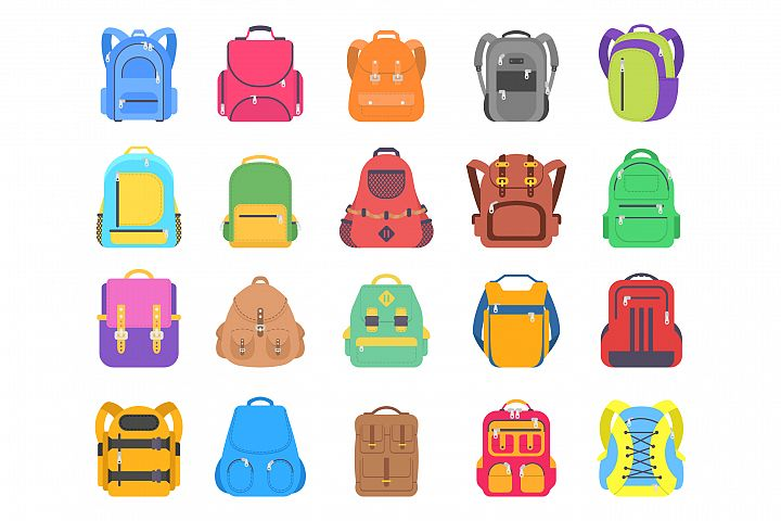 Set different bags and backpacks