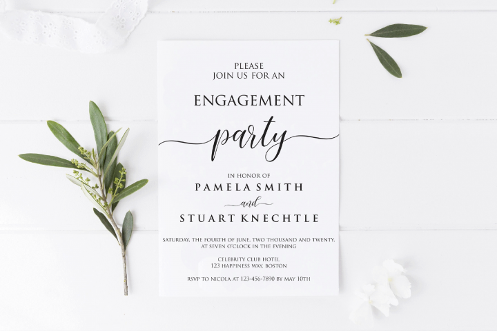 DIY Engagement Party Invite PDF, Print At Home Engagement