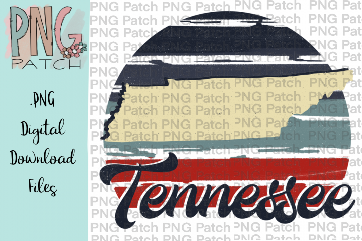 Retro Red, White, and Blue, Tennessee, State PNG File