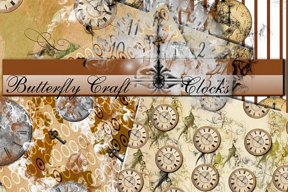 Old clocks digital paper, Clocks vintage paper, Vintage time paper, Clocks pattern, Old clock background, Time digital paper, New year paper