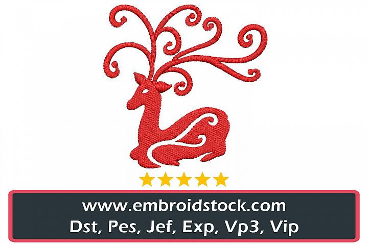 Christmas Festive Deer Embroidery Design