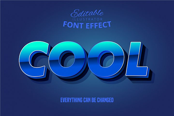 Strong bold 3d text style with dark extrude and cool word